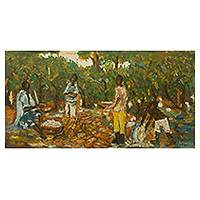 'Cocoa Harvest' - Signed Painting Impressionist Style Ghanaian Harvest