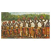 'Dipo Match' - African Coming of Age Theme Signed Painting from Ghana