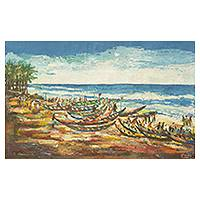 'Prampram Beach' (2013) - Ghanaian Seascape Painting Signed Fine Arts