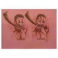 'Horn Blowers' - Signed Acrylic Portrait of African Men Blowing Horns