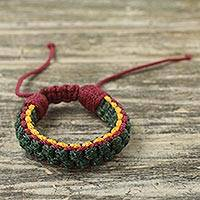 Men's wristband bracelet, 'Forest Awindazi' - Green Yellow and Wine Cord Wristband Bracelet for Men