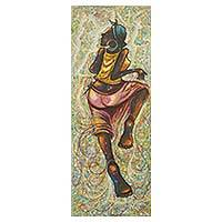 'Side to Side' - Painting of Woman Dancing Signed Fine Arts from Ghana