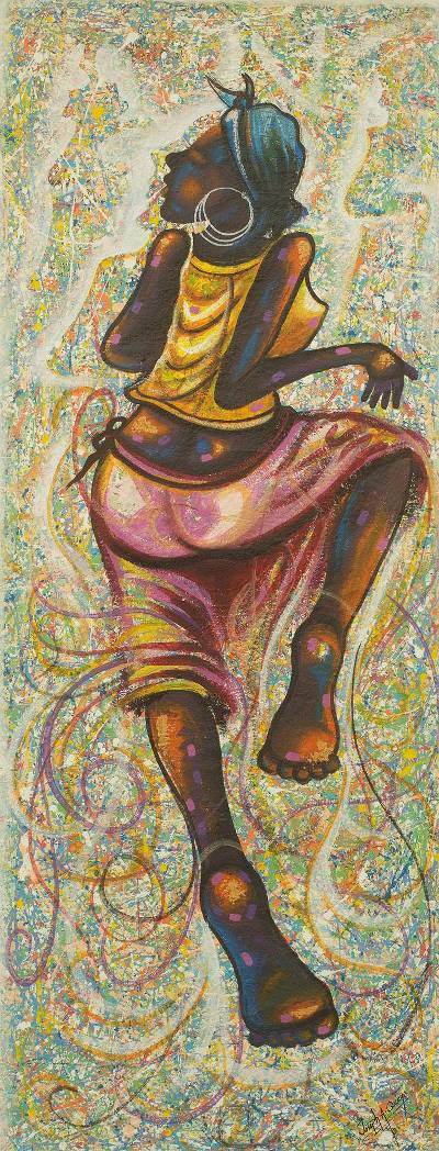 Painting of Woman Dancing Signed Fine Arts from Ghana
