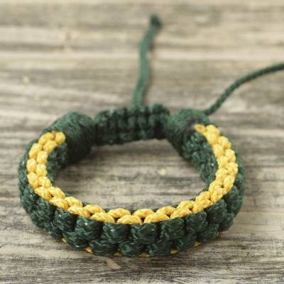 Men's wristband bracelet, 'Awindazi Golden Green' - Men's Hand Woven Cord Bracelet in Green and Yellow