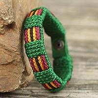 Men's wristband bracelet, 'Kente Feast' - Kente Themed Artisan Crafted Men's Blue Wristband Bracelet
