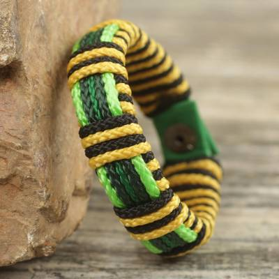 Men's wristband bracelet, 'Kente Bumble Bee' - Men's Hand Crafted Cord Wristband African Bracelet