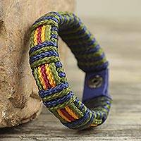 Men's wristband bracelet, 'Proud Kente' - Men's Hand Crafted Cord Wristband Bracelet