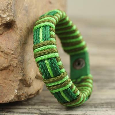 Men's wristband bracelet, 'Kente Happiness' - Fair Trade Men's Kente Inspired Bracelet in Greens