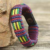 Men's wristband bracelet, 'Kente Kingdom' - Kente Inspired Handcrafted Men's Wristband Bracelet