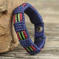 Men's wristband bracelet, 'Kente Sailor' - Artisan Crafted Men's Blue Wristband Bracelet Kente Themed
