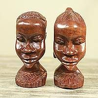 Ebony wood statuettes, 'Ghanaian Couple I' (pair) - Hand Carved Ebony Wood Statuettes of Man and Woman (Pair)