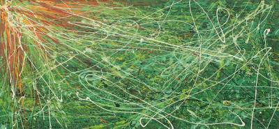 Green Abstract Painting West African Signed Fine Arts