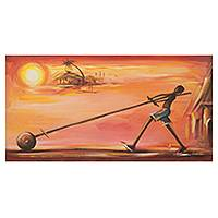 'Future Leader I' - Ghanaian Boy with Toy at Sunset Signed Fine Art Painting