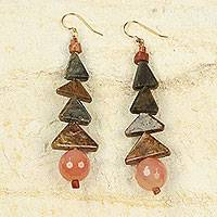 Agate and soapstone dangle earrings, 'Her Happiness' - Artisan Crafted Original Soapstone Earrings with Agate