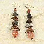 Artisan Crafted Original Soapstone Earrings with Agate, 'Her Happiness'