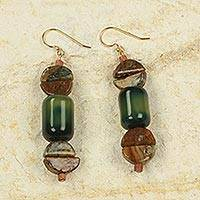 Agate and soapstone dangle earrings,