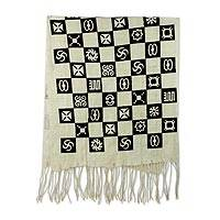 Cotton shawl, 'Collective Wisdom' - Silk Screen Handwoven Cotton Shawl from Ghana