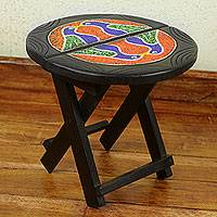 Beaded wood folding table, 'Birds in a Circle' - Artisan Crafted Round Wood Folding Table with Beadwork
