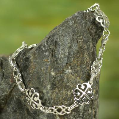 Sterling silver link bracelet, 'Tree of God' - Ashanti Adinkra Symbol Bracelet in Sterling Silver and CZ