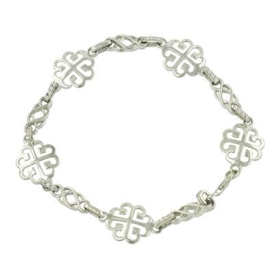 Ashanti Adinkra Symbol Bracelet in Sterling Silver and CZ
