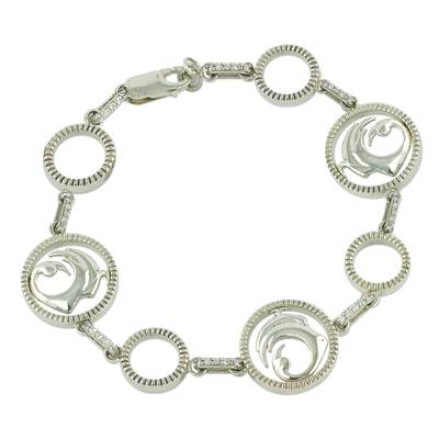 Sterling Silver and Zirconia African Adinkra Symbol Bracelet