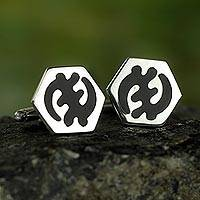 Sterling silver cufflinks, 'Adinkra Shield' - Artisan Crafted Sterling Silver Adinkra Symbol Cufflinks