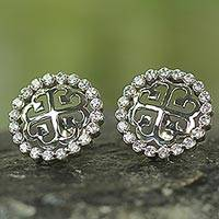 Sterling silver button earrings, 'Nyame Dua' - Sterling Silver and CZ Button Earrings from West Africa