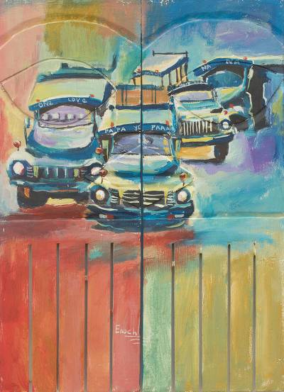 Acrylic on Wood Diptych Painting Old African Cars