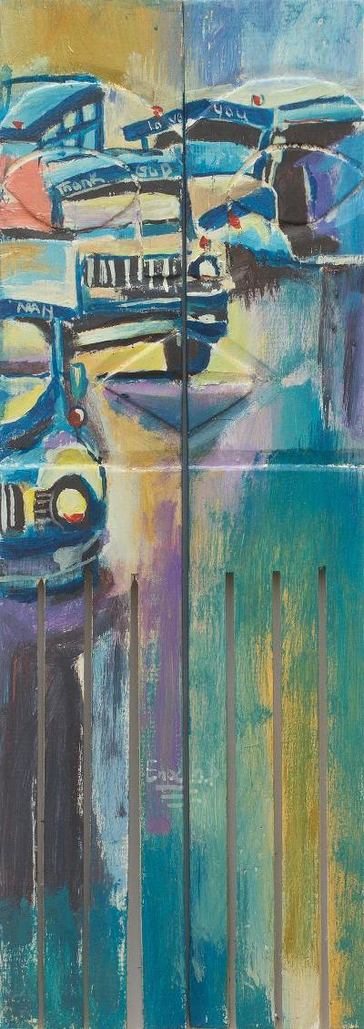 Signed Diptych Painting Old African Cars in Acrylic on Wood