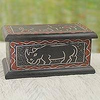 Wood box, 'Wildlife of Africa' - Hand Carved Rustic Decorative Box with African Animals