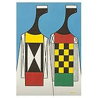'African Men' - Ghana Stylized Signed Portrait of Men in Primary Hues