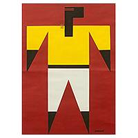 'Design Intrigue' - Red and Yellow Cubist Style African Portrait