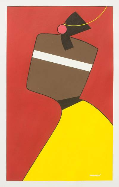 'Women Today' - Red and Yellow Abstract African Fashion Painting