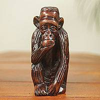 Ebony sculpture, 'Chimp with a Snack' - Ebony Wood Animal Sculpture Had Carved in Ghana