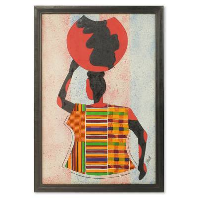 African Kente Cloth Collage Framed Oil Painting