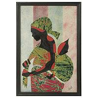 'Good Akan Mother' - Artisan Crafted Framed African Folk Art Motherhood Painting
