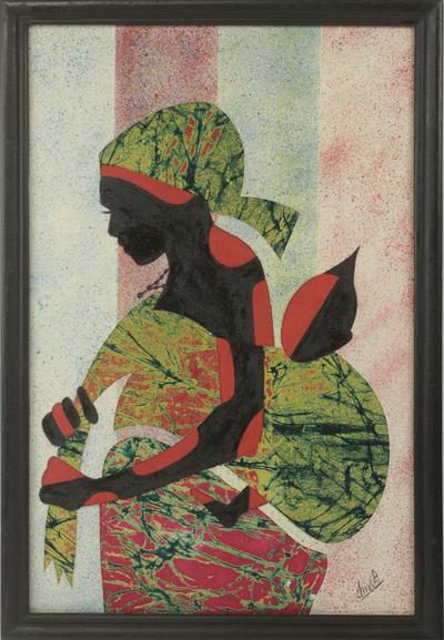 Artisan Crafted Framed African Folk Art Motherhood Painting