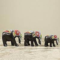 Wood sculptures, 'Colorful African Elephants' (set of 3) - Beaded Wood Hand Carved Elephant Sculptures (Set of 3)