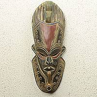 African wood mask, 'Smoking a Pipe' - Hand Carved African Mask with Embossed Aluminum