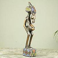 Beaded wood fertility sculpture, 'Senufo Spiritual Mother' - African Fertility Doll Beaded Wood Sculpture Crafted by Hand