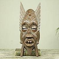 African wood mask, 'Kankan Nyame' - African Wood Mask with Fangs and Fins from Ghana