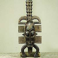 African wood mask, 'Senufo II' - Artisan Crafted African Wood Mask in Senufo Style
