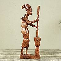 Wood sculpture, 'African Mother I' - Sculpture of Mother with Baby Preparing African Food