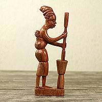 Wood sculpture, 'African Mother II' - Mother and Child Handcarved Wood Sculpture from Ghana