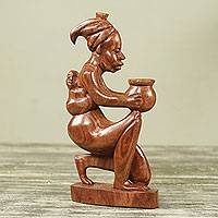 Wood sculpture, 'Kofi's Mother' - Hand Carved African Rosewood Mother and Child Sculpture