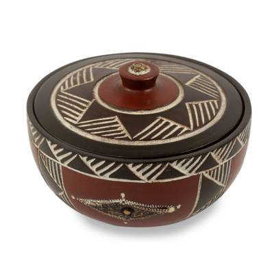 African Decorative Wood Lidded Bowl Carved by Hand