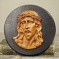 Teak relief sculpture, 'Agony of Christ ' - Hand Carved Teakwood Wall Sculpture Depicting Jesus