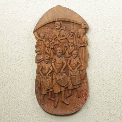 Teak relief panel, 'Chief's Procession' - Traditional Ghanaian Festival Scene in Hand-Carved Teak
