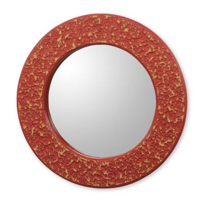 Africa Artisan Crafted Circular Red Wall Mirror