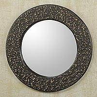 Wall mirror, 'Cape Coast Night' - Artisan Crafted Wall Mirror in Black